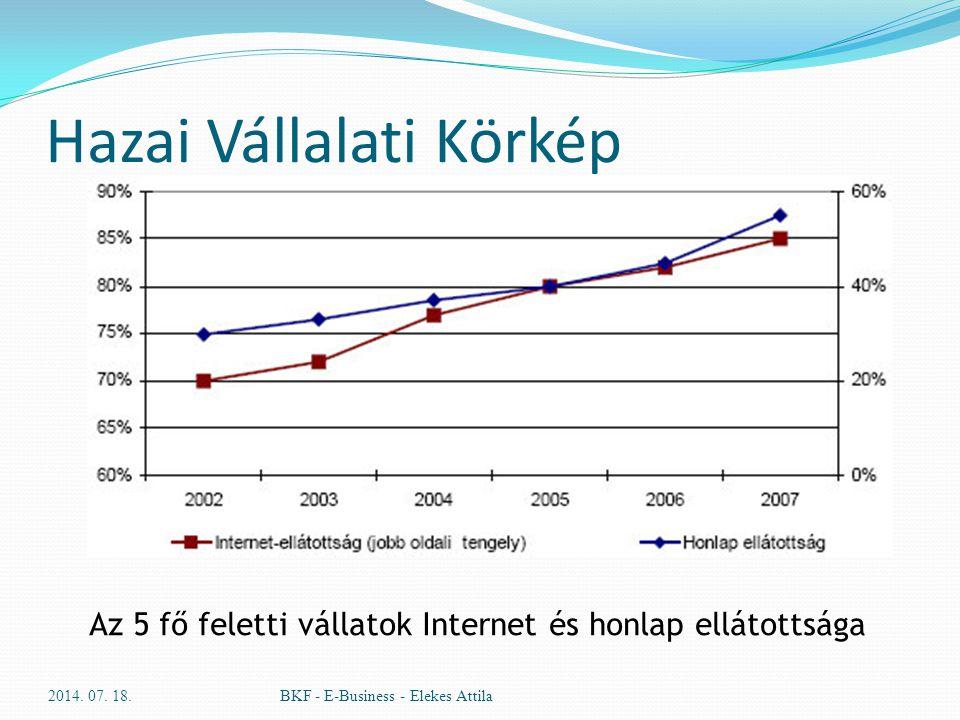 Hazai Vállalati Körkép 2014. 07. 18.BKF - E-Business - Elekes Attila Az 5 fő feletti vállatok Internet és honlap ellátottsága