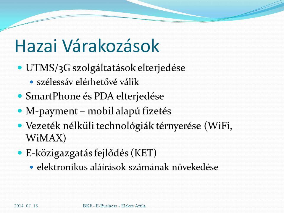 Hazai Várakozások UTMS/3G szolgáltatások elterjedése szélessáv elérhetővé válik SmartPhone és PDA elterjedése M-payment – mobil alapú fizetés Vezeték