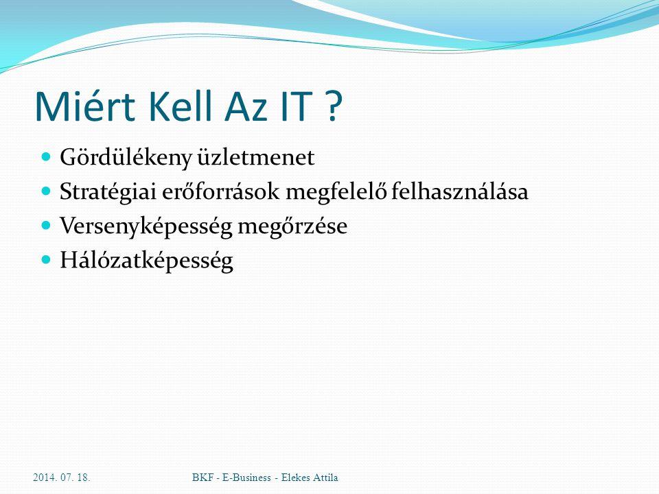 Miért Kell Az IT ? Gördülékeny üzletmenet Stratégiai erőforrások megfelelő felhasználása Versenyképesség megőrzése Hálózatképesség 2014. 07. 18.BKF -