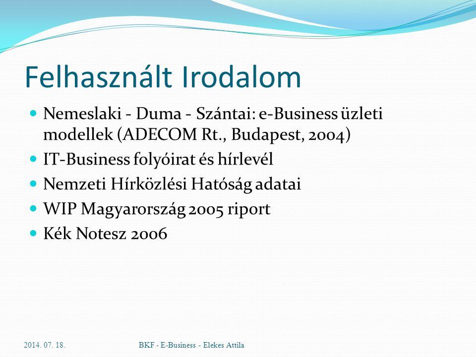 Felhasznált Irodalom Nemeslaki - Duma - Szántai: e-Business üzleti modellek (ADECOM Rt., Budapest, 2004) IT-Business folyóirat és hírlevél Nemzeti Hír