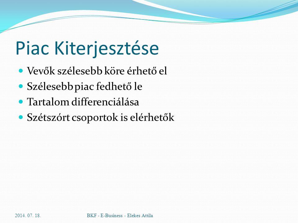 Piac Kiterjesztése Vevők szélesebb köre érhető el Szélesebb piac fedhető le Tartalom differenciálása Szétszórt csoportok is elérhetők 2014. 07. 18.BKF