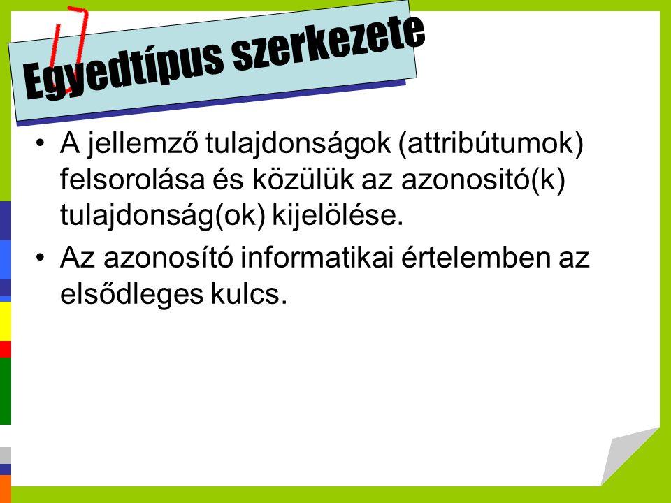 Egyedtípus szerkezete A jellemző tulajdonságok (attribútumok) felsorolása és közülük az azonositó(k) tulajdonság(ok) kijelölése. Az azonosító informat