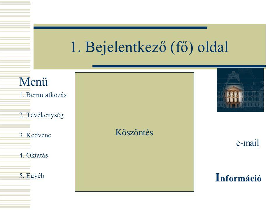 1. Bejelentkező (fő) oldal Menü 1. Bemutatkozás 2.