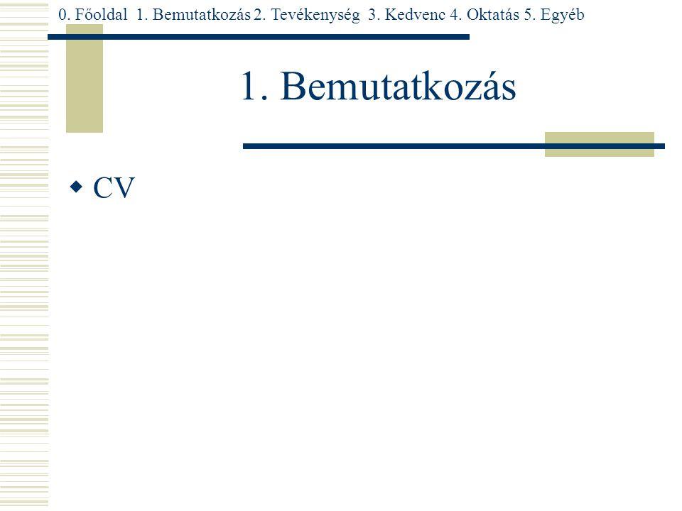 1. Bemutatkozás  CV 0. Főoldal 1. Bemutatkozás 2. Tevékenység 3. Kedvenc 4. Oktatás 5. Egyéb