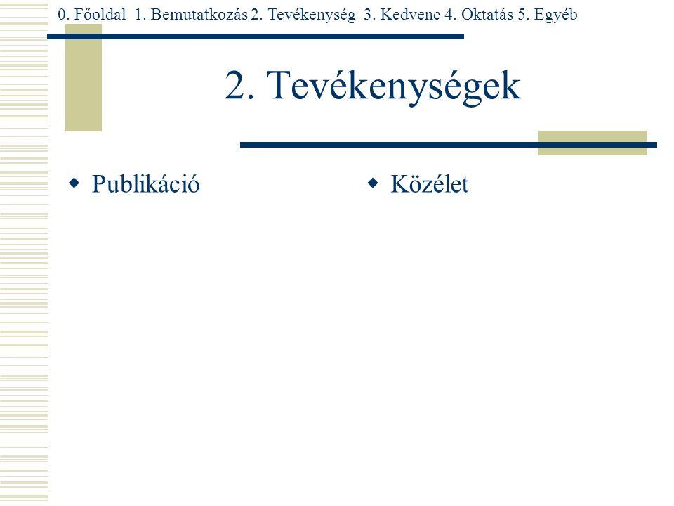 2. Tevékenységek  Publikáció  Közélet 0. Főoldal 1.