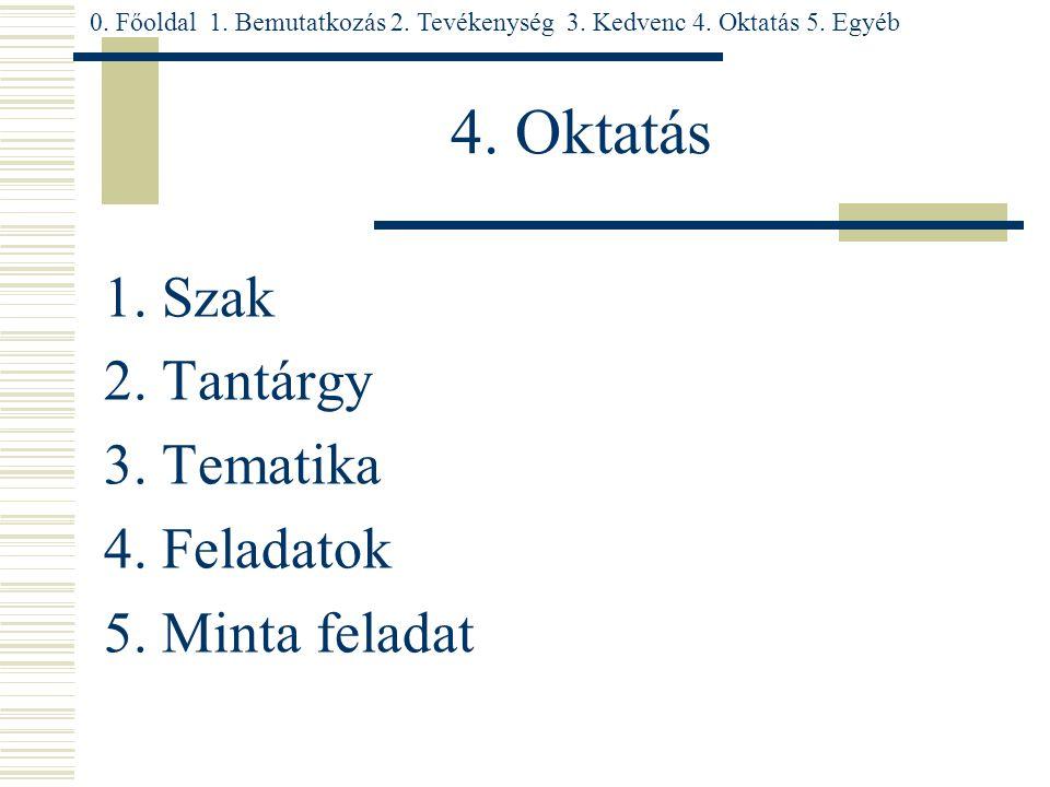 4. Oktatás 1. Szak 2. Tantárgy 3. Tematika 4. Feladatok 5.