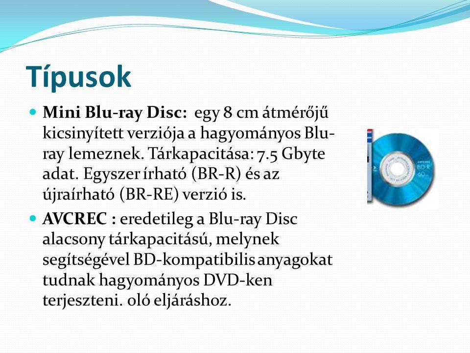 Típusok Mini Blu-ray Disc: egy 8 cm átmérőjű kicsinyített verziója a hagyományos Blu- ray lemeznek.