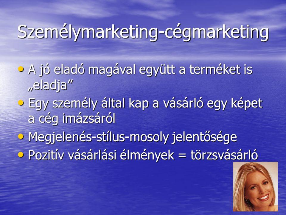 """Személymarketing-cégmarketing A jó eladó magával együtt a terméket is """"eladja"""" A jó eladó magával együtt a terméket is """"eladja"""" Egy személy által kap"""