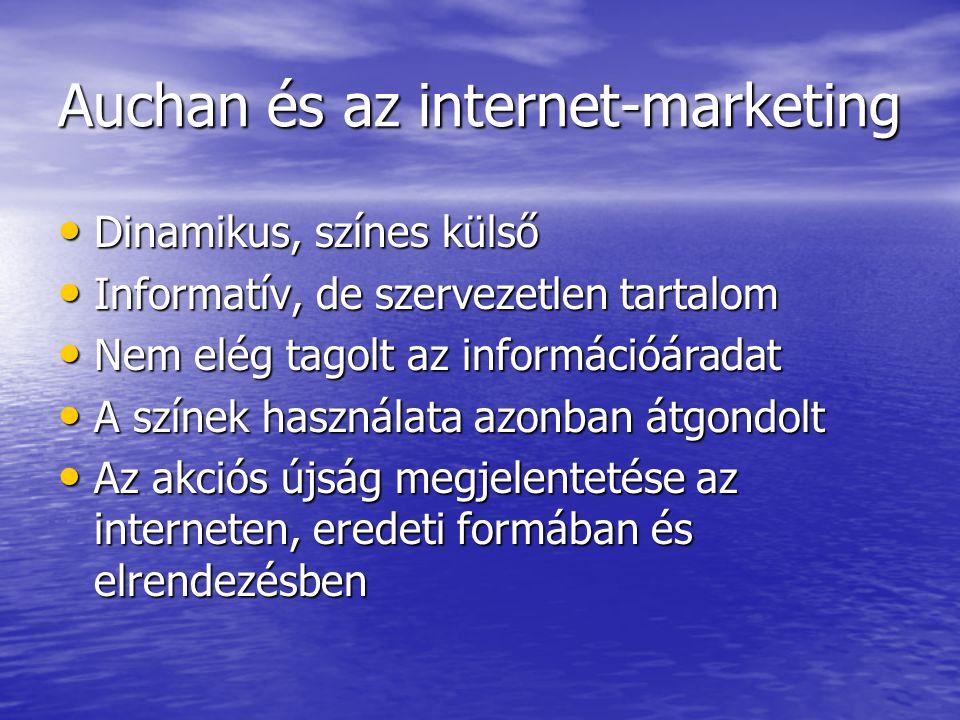 Auchan és az internet-marketing Dinamikus, színes külső Dinamikus, színes külső Informatív, de szervezetlen tartalom Informatív, de szervezetlen tarta