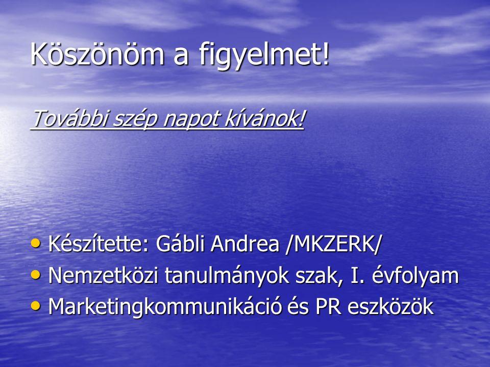 Köszönöm a figyelmet! További szép napot kívánok! Készítette: Gábli Andrea /MKZERK/ Készítette: Gábli Andrea /MKZERK/ Nemzetközi tanulmányok szak, I.