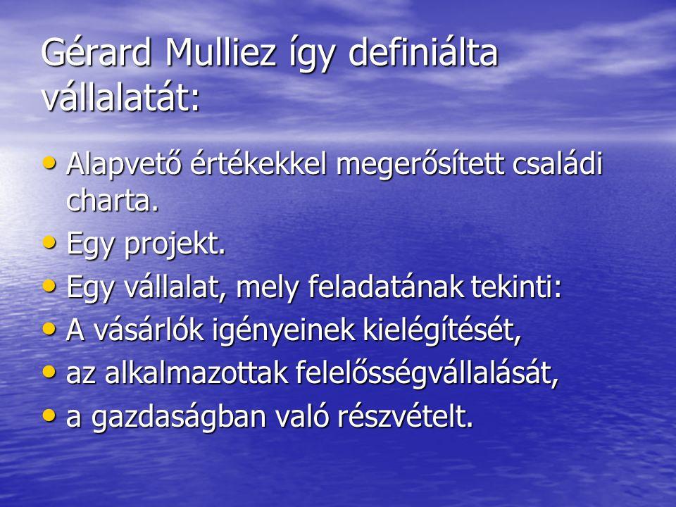 Gérard Mulliez így definiálta vállalatát: Alapvető értékekkel megerősített családi charta. Alapvető értékekkel megerősített családi charta. Egy projek