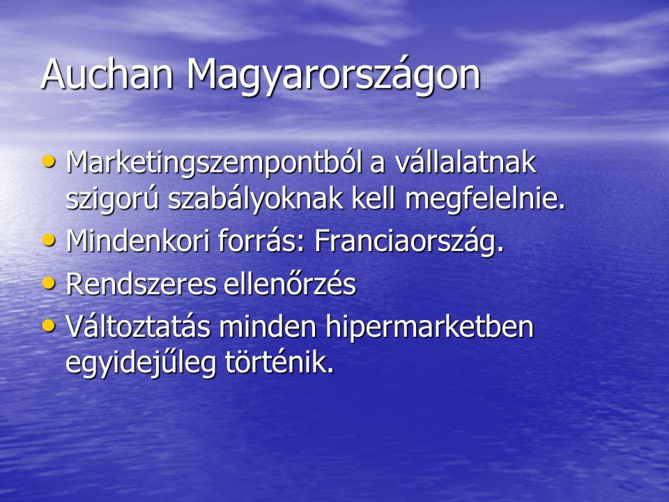 Auchan Magyarországon Marketingszempontból a vállalatnak szigorú szabályoknak kell megfelelnie. Marketingszempontból a vállalatnak szigorú szabályokna