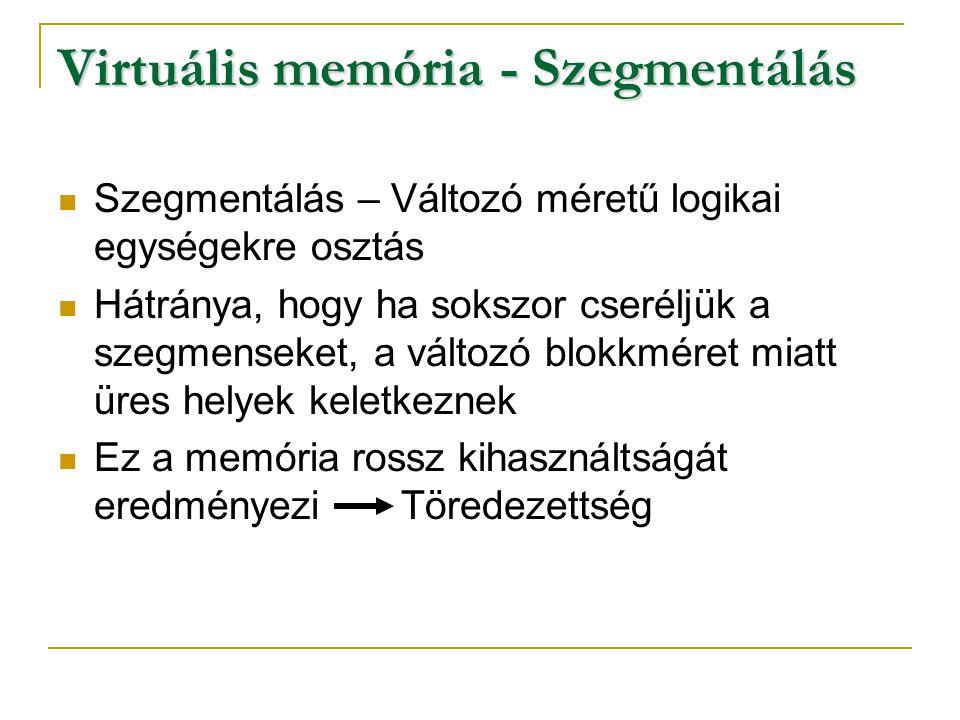 Virtuális memória - Szegmentálás Szegmensek funkciójuk szerint:  0.