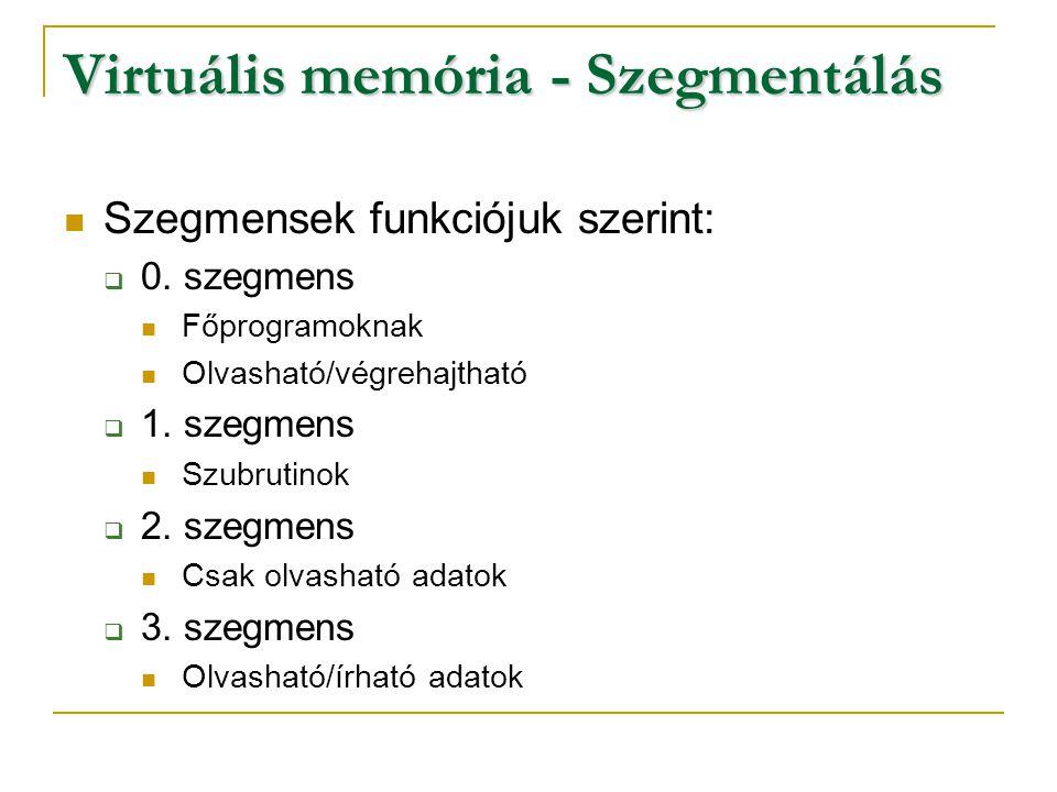Virtuális memória - Szegmentálás Szegmensek funkciójuk szerint:  0. szegmens Főprogramoknak Olvasható/végrehajtható  1. szegmens Szubrutinok  2. sz
