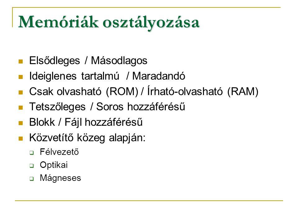 Memóriák osztályozása Elsődleges / Másodlagos Ideiglenes tartalmú / Maradandó Csak olvasható (ROM) / Írható-olvasható (RAM) Tetszőleges / Soros hozzáf