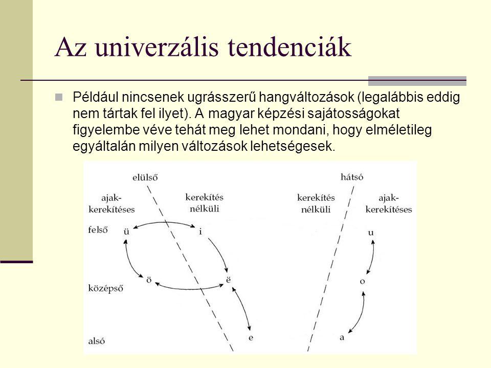 Az univerzális tendenciák Például nincsenek ugrásszerű hangváltozások (legalábbis eddig nem tártak fel ilyet). A magyar képzési sajátosságokat figyele