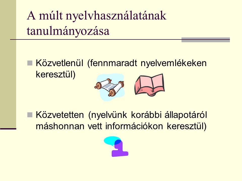 Közvetlenül (fennmaradt nyelvemlékeken keresztül) Közvetetten (nyelvünk korábbi állapotáról máshonnan vett információkon keresztül) A múlt nyelvhaszná