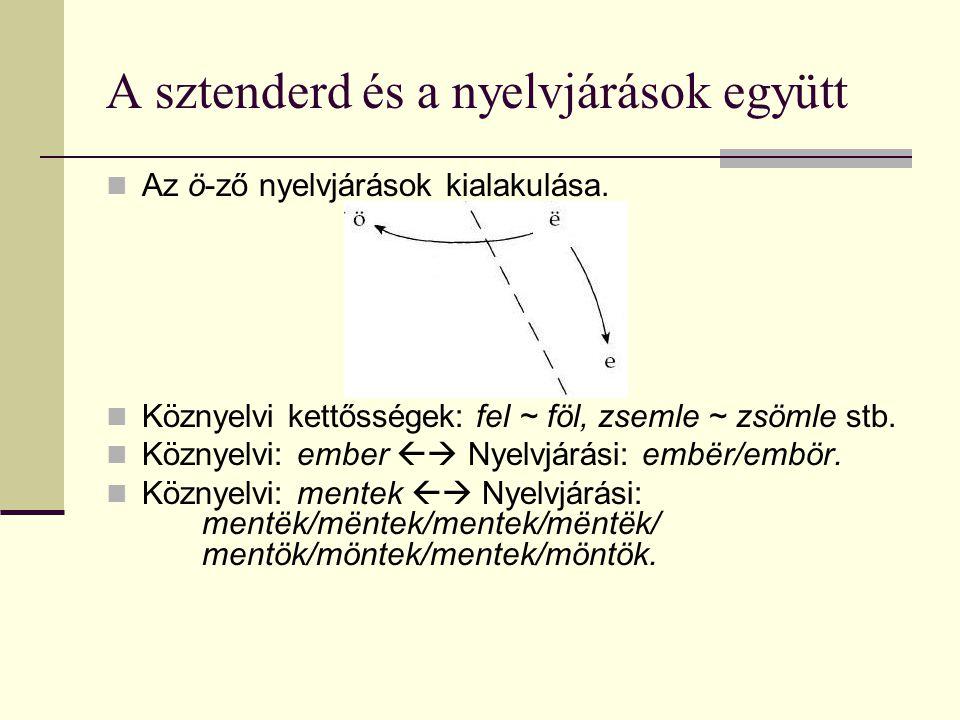 A sztenderd és a nyelvjárások együtt Az ö-ző nyelvjárások kialakulása. Köznyelvi kettősségek: fel ~ föl, zsemle ~ zsömle stb. Köznyelvi: ember  Nyel