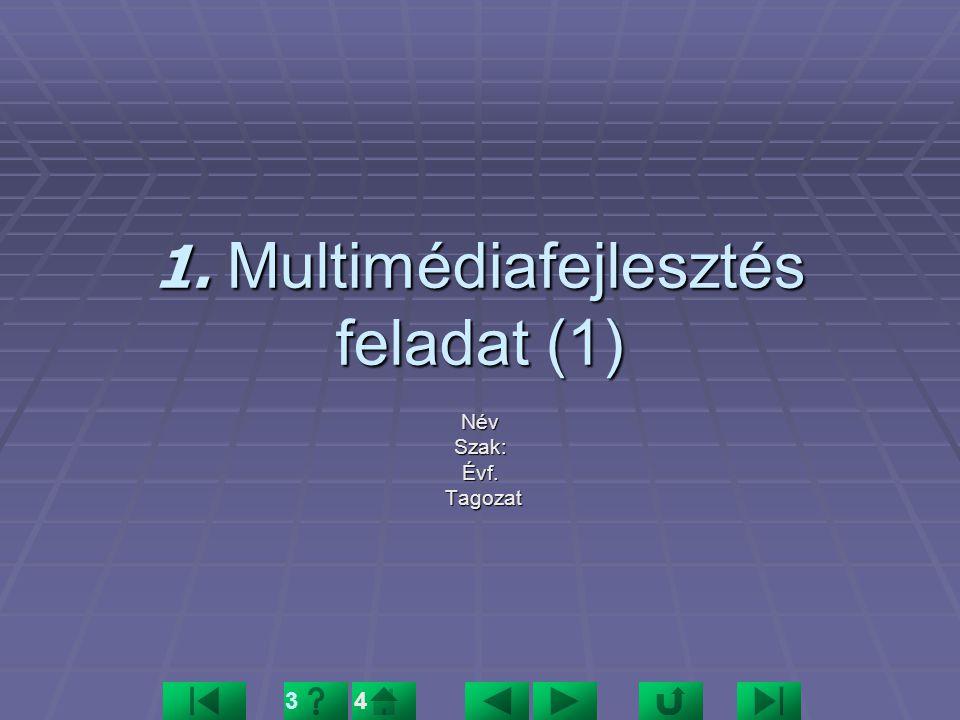 1. Multimédiafejlesztés feladat (1) NévSzak:Évf. Tagozat Tagozat 34