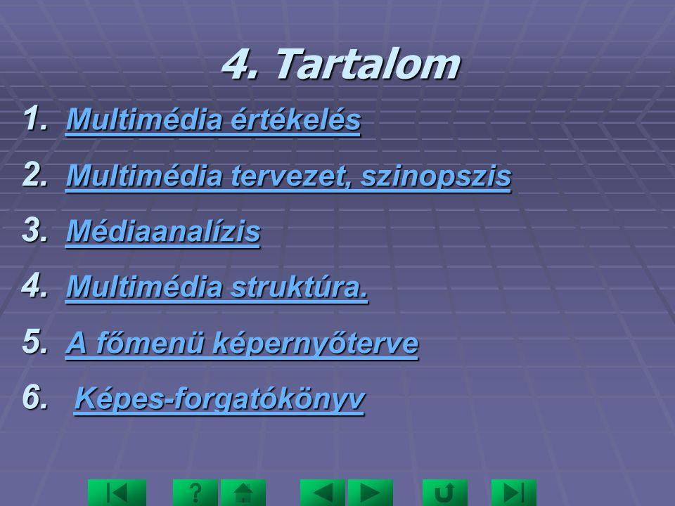 4.Tartalom 1. Multimédia értékelés Multimédia értékelés Multimédia értékelés 2.