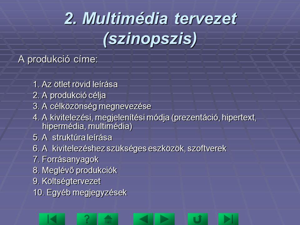 3.Médiaanalízis Szint/ Médium BEJELENTK. KÉP I. Köszöntés II.Főmenü III.