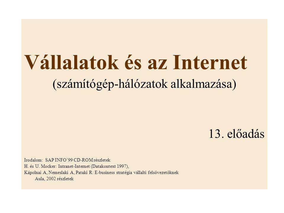 Vállalatok és az Internet (számítógép-hálózatok alkalmazása) 13. előadás Irodalom: SAP INFO'99 CD-ROM részletek H. és U. Mocker: Intranet-Internet (Da
