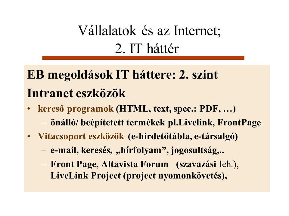 Vállalatok és az Internet; 2. IT háttér EB megoldások IT háttere: 2. szint Intranet eszközök kereső programok (HTML, text, spec.: PDF, …) –önálló/ beé