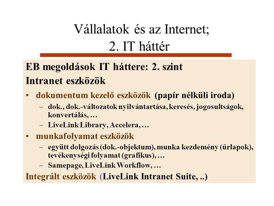 Vállalatok és az Internet; 2. IT háttér EB megoldások IT háttere: 2. szint Intranet eszközök dokumentum kezelő eszközök (papír nélküli iroda) –dok., d