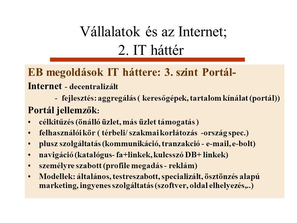 Vállalatok és az Internet; 2. IT háttér EB megoldások IT háttere: 3. szint Portál- Internet - decentralizált - fejlesztés: aggregálás ( keresőgépek, t