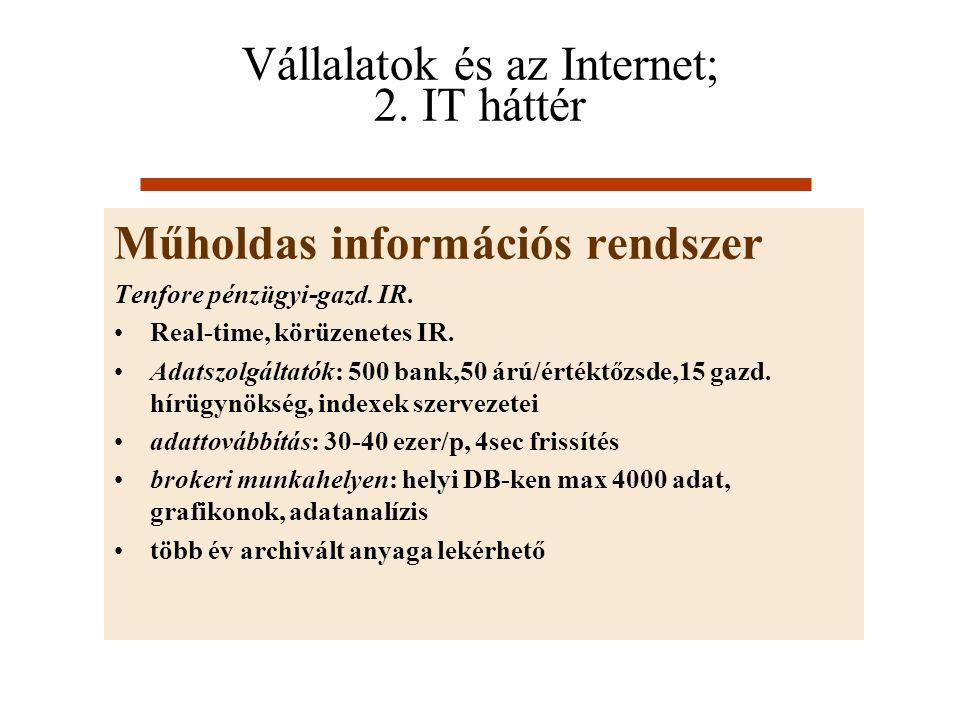 Vállalatok és az Internet; 2. IT háttér Műholdas információs rendszer Tenfore pénzügyi-gazd. IR. Real-time, körüzenetes IR. Adatszolgáltatók: 500 bank