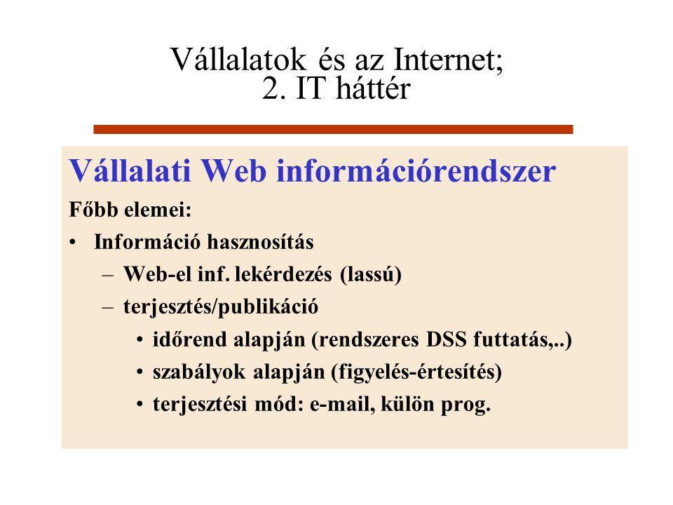 Vállalatok és az Internet; 2. IT háttér Vállalati Web információrendszer Főbb elemei: Információ hasznosítás –Web-el inf. lekérdezés (lassú) –terjeszt