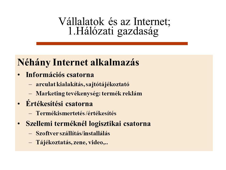 Vállalatok és az Internet; 1.Hálózati gazdaság Néhány Internet alkalmazás Információs csatorna –arculat kialakítás, sajtótájékoztató –Marketing tevéke
