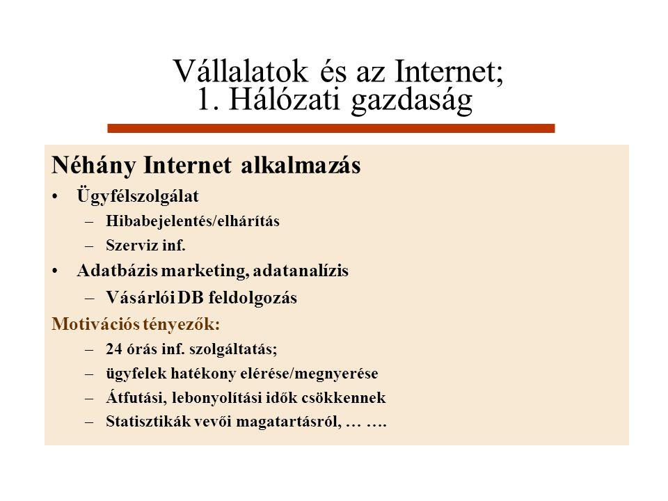 Vállalatok és az Internet; 1. Hálózati gazdaság Néhány Internet alkalmazás Ügyfélszolgálat –Hibabejelentés/elhárítás –Szerviz inf. Adatbázis marketing