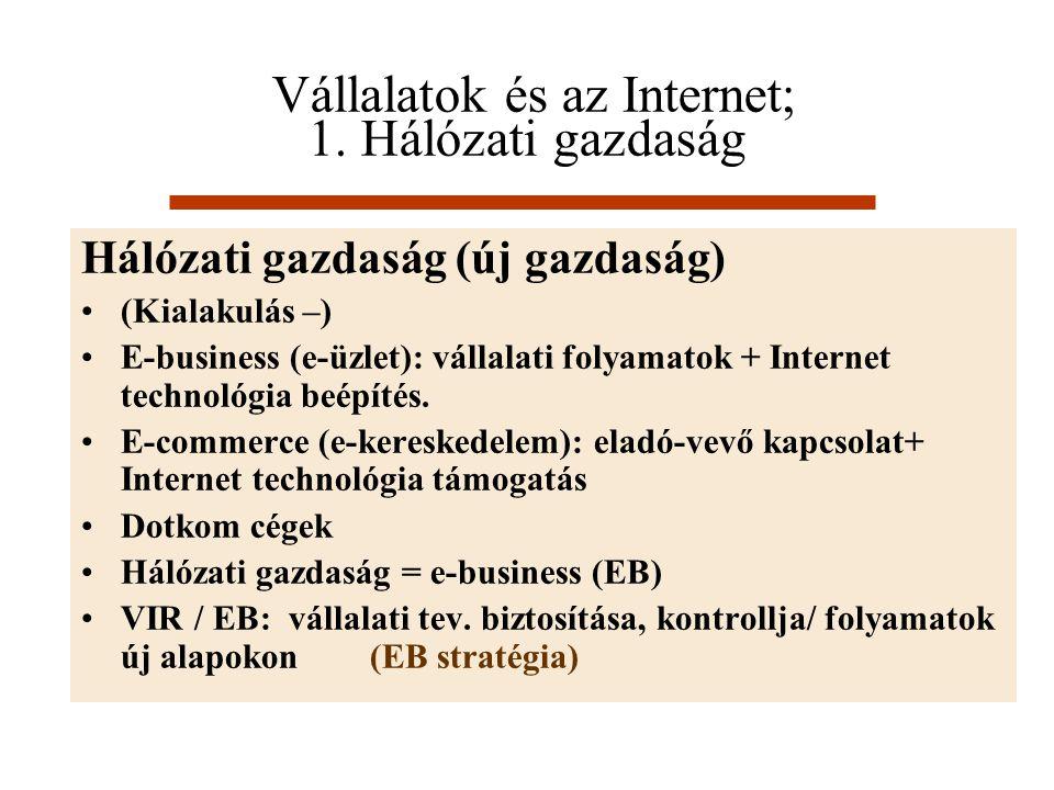 Vállalatok és az Internet; 1. Hálózati gazdaság Hálózati gazdaság (új gazdaság) (Kialakulás –) E-business (e-üzlet): vállalati folyamatok + Internet t