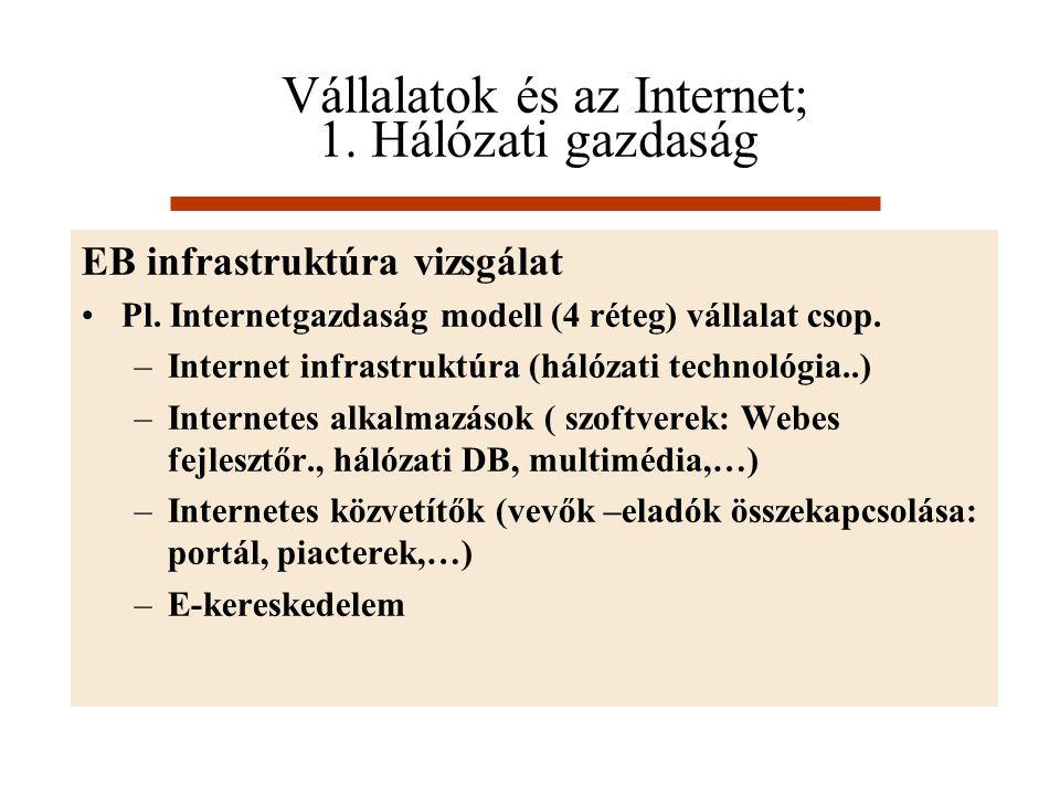 Vállalatok és az Internet; 1. Hálózati gazdaság EB infrastruktúra vizsgálat Pl. Internetgazdaság modell (4 réteg) vállalat csop. –Internet infrastrukt