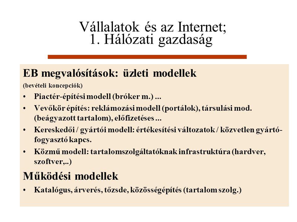 Vállalatok és az Internet; 1. Hálózati gazdaság EB megvalósítások: üzleti modellek (bevételi koncepciók) Piactér-építési modell (bróker m.)... Vevőkör