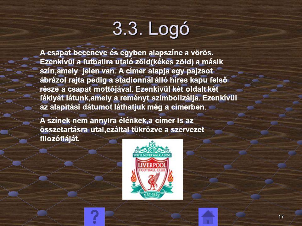 17 3.3. Logó A csapat beceneve és egyben alapszíne a vörös. Ezenkívül a futballra utaló zöld(kékes zöld) a másik szín,amely jelen van. A címer alapja