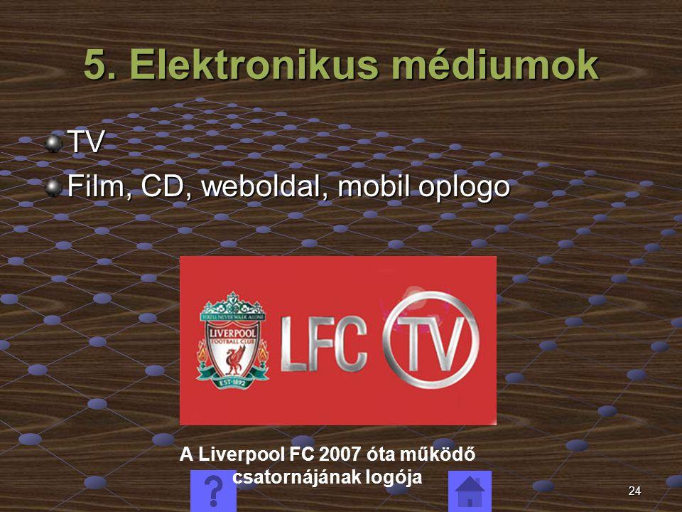 24 5. Elektronikus médiumok TV Film, CD, weboldal, mobil oplogo A Liverpool FC 2007 óta működő csatornájának logója