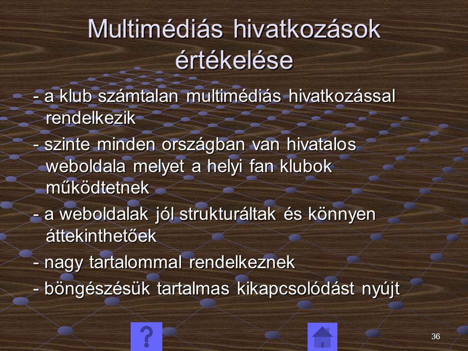 36 Multimédiás hivatkozások értékelése - a klub számtalan multimédiás hivatkozással rendelkezik - a klub számtalan multimédiás hivatkozással rendelkez