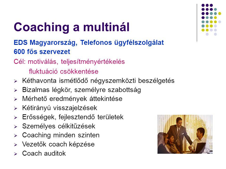Coaching a multinál EDS Magyarország, Telefonos ügyfélszolgálat 600 fős szervezet Cél: motiválás, teljesítményértékelés fluktuáció csökkentése  Kétha