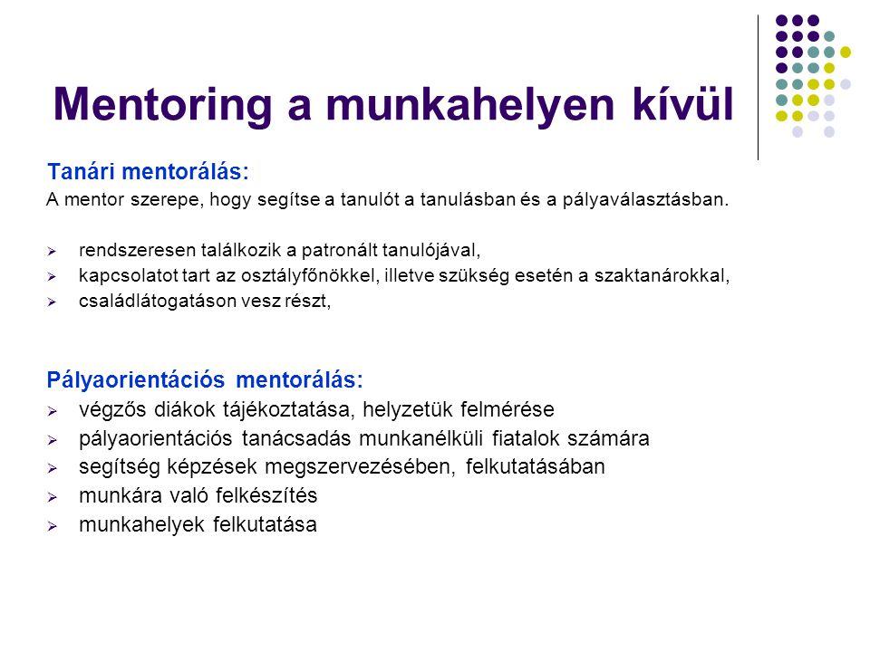 Mentoring a munkahelyen kívül Tanári mentorálás: A mentor szerepe, hogy segítse a tanulót a tanulásban és a pályaválasztásban.  rendszeresen találkoz