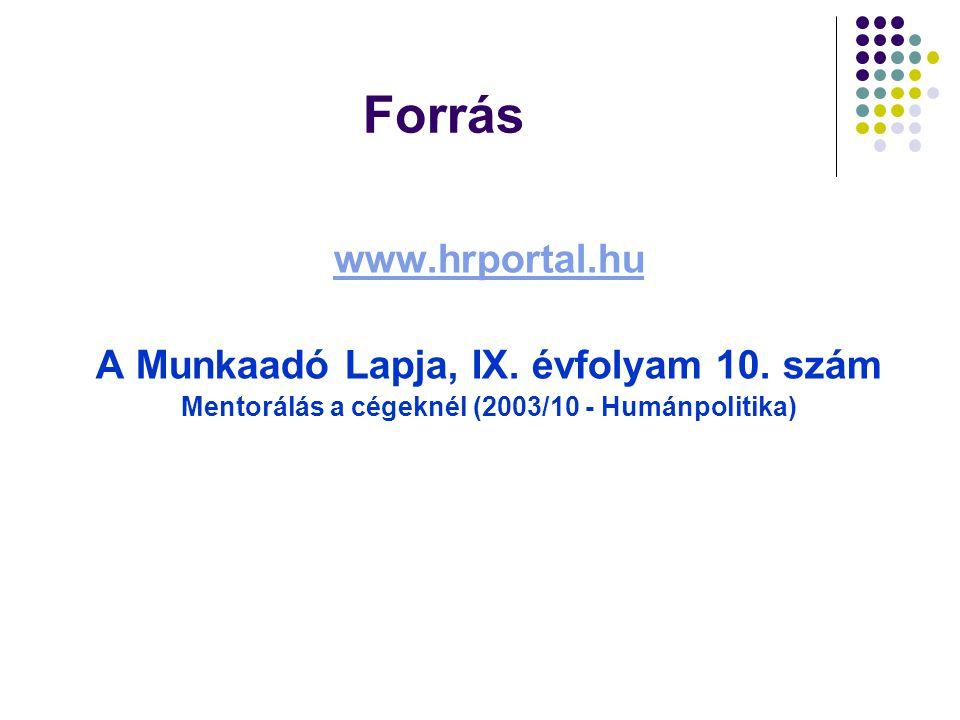 Forrás www.hrportal.hu A Munkaadó Lapja, IX. évfolyam 10. szám Mentorálás a cégeknél (2003/10 - Humánpolitika)