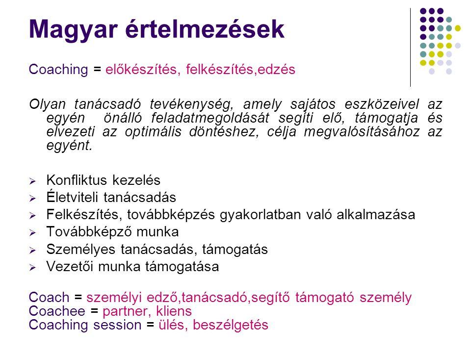 Magyar értelmezések Coaching = előkészítés, felkészítés,edzés Olyan tanácsadó tevékenység, amely sajátos eszközeivel az egyén önálló feladatmegoldását