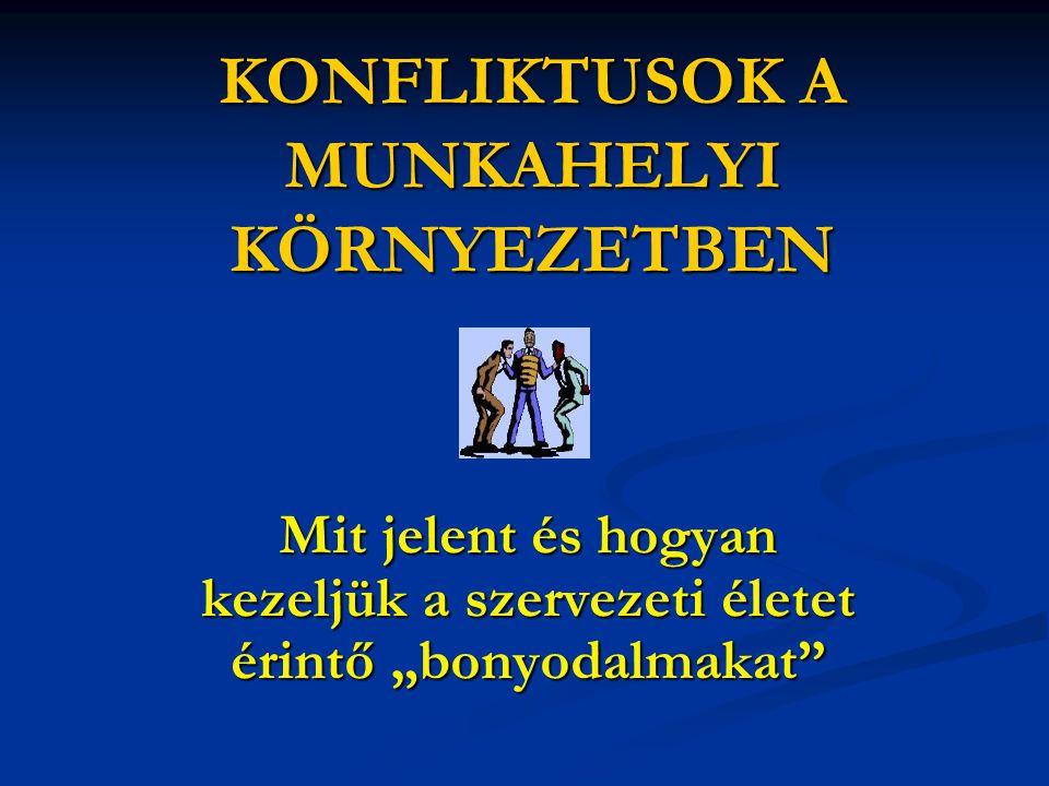 A konfliktus szintjei a személy belső konfliktusai a személy belső konfliktusai emberek egymás közötti konfliktusai emberek egymás közötti konfliktusai csoportközi konfliktusok csoportközi konfliktusok szervezetek közötti konfliktusok szervezetek közötti konfliktusok
