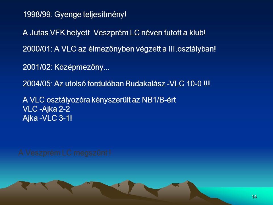 14 1998/99: Gyenge teljesítmény! A Jutas VFK helyett Veszprém LC néven futott a klub! 2000/01: A VLC az élmezőnyben végzett a III.osztályban! 2001/02: