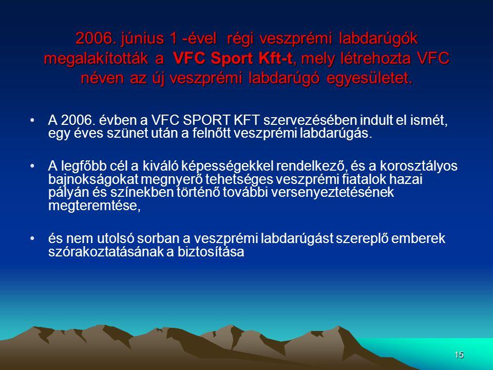 15 2006. június 1 -ével régi veszprémi labdarúgók megalakították a VFC Sport Kft-t, mely létrehozta VFC néven az új veszprémi labdarúgó egyesületet. A