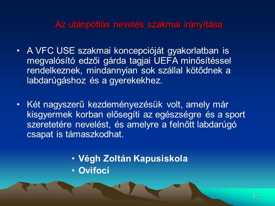 17 Az utánpótlás nevelés szakmai irányítása Az utánpótlás nevelés szakmai irányítása A VFC USE szakmai koncepcióját gyakorlatban is megvalósító edzői