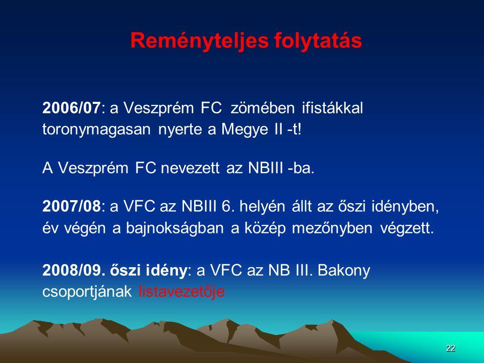 22 Reményteljes folytatás 2006/07: a Veszprém FC zömében ifistákkal toronymagasan nyerte a Megye II -t! A Veszprém FC nevezett az NBIII -ba. 2007/08: