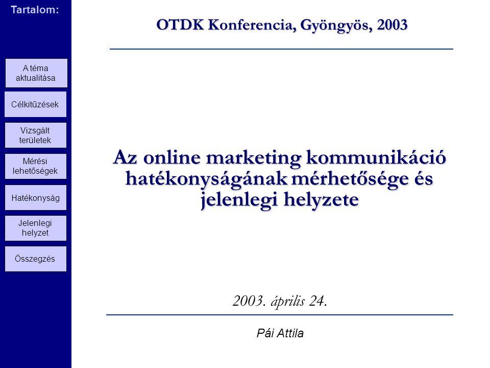 Az online marketing kommunikáció hatékonyságának mérhetősége és jelenlegi helyzete 2003.