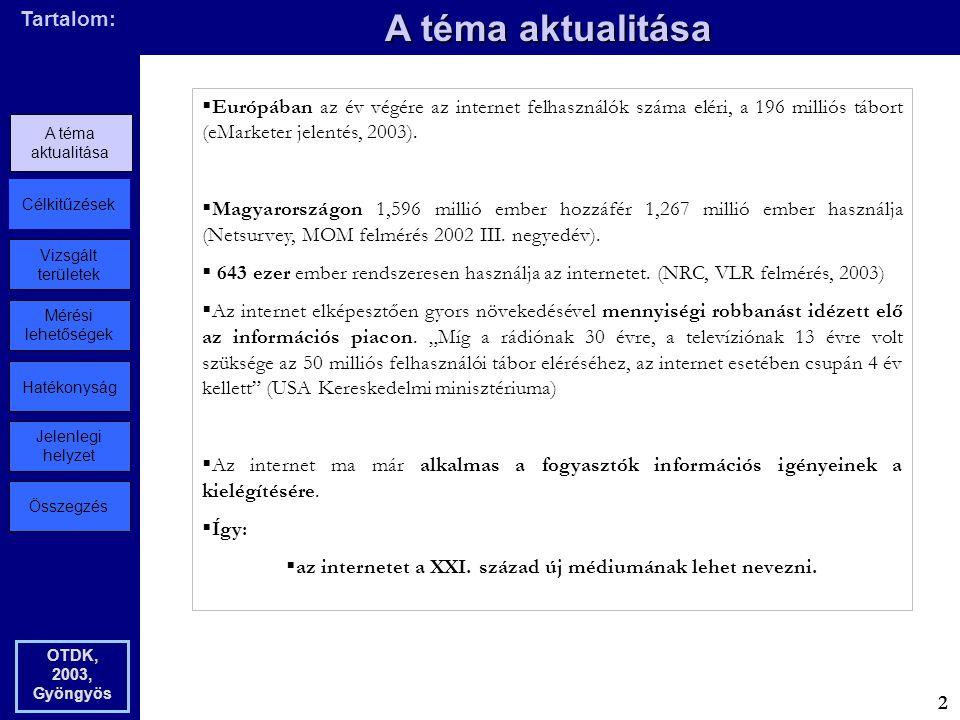 Összegzés Jelenlegi helyzet Hatékonyság Mérési lehetőségek Vizsgált területek Célkitűzések A téma aktualitása Tartalom: A téma aktualitása OTDK, 2003, Gyöngyös  Európában az év végére az internet felhasználók száma eléri, a 196 milliós tábort (eMarketer jelentés, 2003).